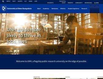 Main page screenshot of unh.edu