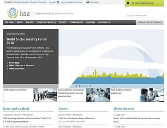 Main page screenshot of issa.int