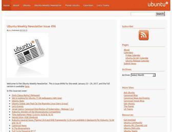 Main page screenshot of ubuntu-news.org