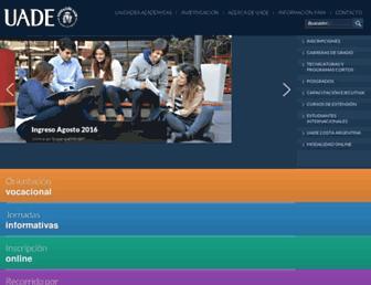 Main page screenshot of uade.edu.ar