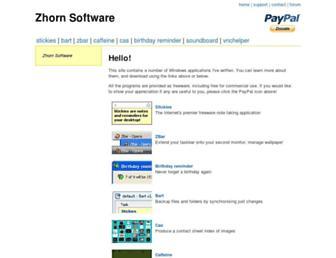 Main page screenshot of zhornsoftware.co.uk