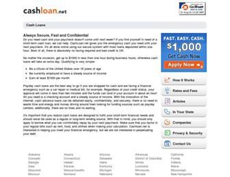 Main page screenshot of cashloan.net