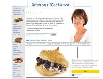 Main page screenshot of marions-kochbuch.de