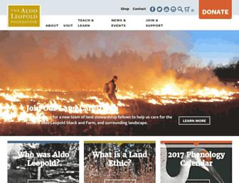 Main page screenshot of aldoleopold.org