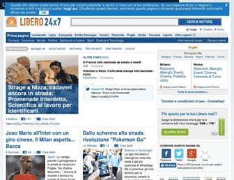 Main page screenshot of 247.libero.it