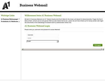 Main page screenshot of businesswebmail.a1.net