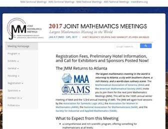 Main page screenshot of jointmathematicsmeetings.org