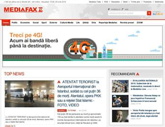 Main page screenshot of mediafax.ro