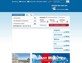 Main page screenshot of alltours.de