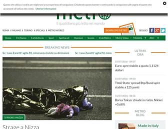 Main page screenshot of metronews.it