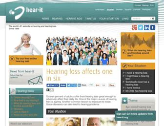 Main page screenshot of youth.hear-it.org