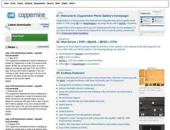 Main page screenshot of coppermine-gallery.net