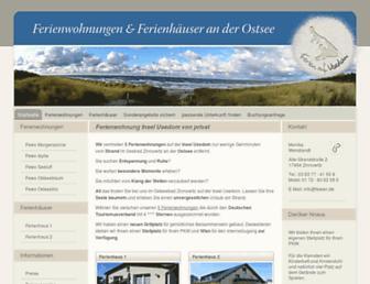 Main page screenshot of inselusedom-ferienwohnung.de