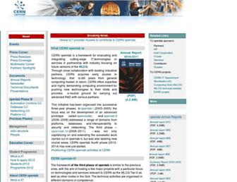 Main page screenshot of openlab-mu-internal.web.cern.ch