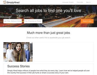 Main page screenshot of simplyhired.ca