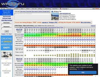 Main page screenshot of windguru.cz