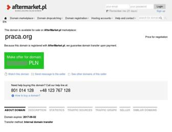 Main page screenshot of praca.org