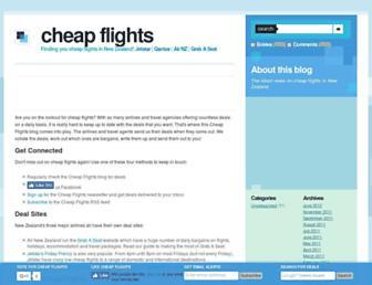 Main page screenshot of cheap-flights.net.nz