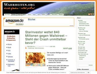 Main page screenshot of wahrheiten.org