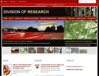 Main page screenshot of umresearch.umd.edu
