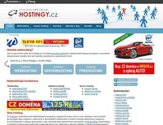 Main page screenshot of hostingy.cz