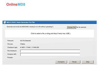 onlinemd5.com screenshot