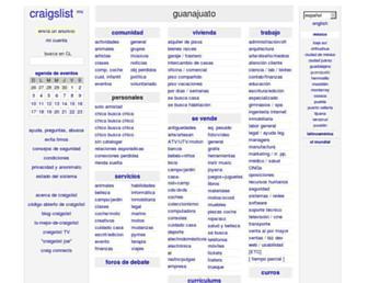 Main page screenshot of guanajuato.craigslist.com.mx