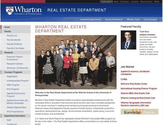 real-estate.wharton.upenn.edu screenshot