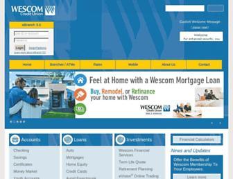 Main page screenshot of wescom.org
