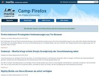 Main page screenshot of camp-firefox.de