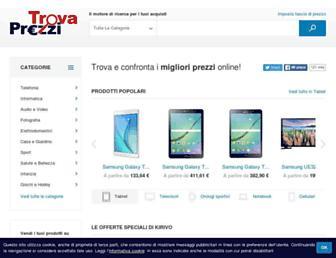 Main page screenshot of trovaprezzi.it