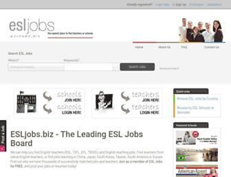 Main page screenshot of esljobs.biz