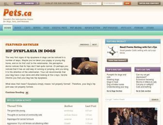 Main page screenshot of pets.ca