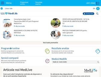 Main page screenshot of medlife.ro