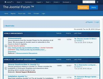 Main page screenshot of forum.joomla.org
