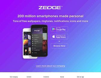Main page screenshot of zedge.net