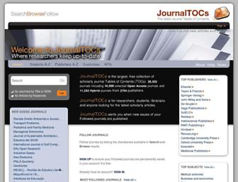 Main page screenshot of journaltocs.ac.uk