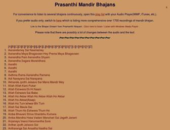 prasanthi-mandir-bhajan.net screenshot