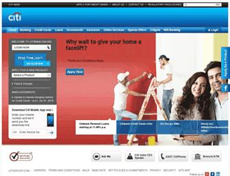 Main page screenshot of citibank.co.in