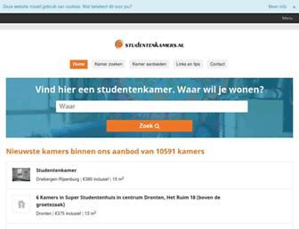 Main page screenshot of studentenkamers.nl