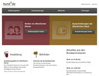 Main page screenshot of bund.de