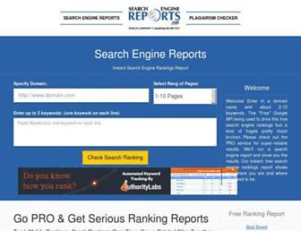 Main page screenshot of searchenginereports.net