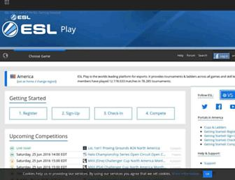 Main page screenshot of esl.eu