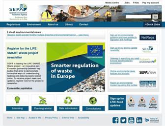 Main page screenshot of sepa.org.uk