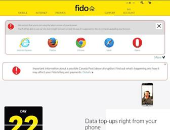 Main page screenshot of fido.ca