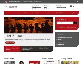 Main page screenshot of libweb.lancs.ac.uk