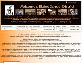Main page screenshot of blaine.wednet.edu