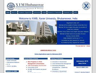 Main page screenshot of ximb.ac.in