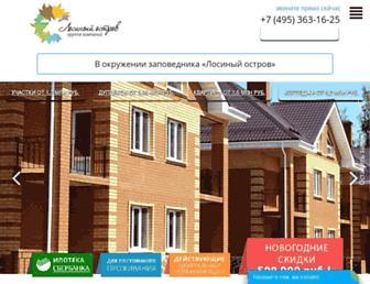 Main page screenshot of poselok-losiniy-ostrov.ru