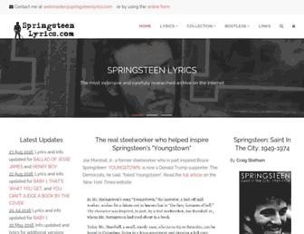 springsteenlyrics.com screenshot